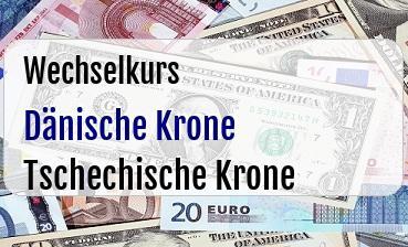 Dänische Krone in Tschechische Krone