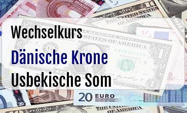 Dänische Krone in Usbekische Som
