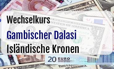 Gambischer Dalasi in Isländische Kronen