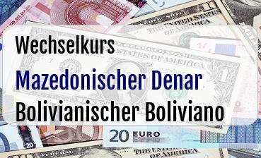 Mazedonischer Denar in Bolivianischer Boliviano