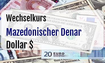 Mazedonischer Denar in US Dollar