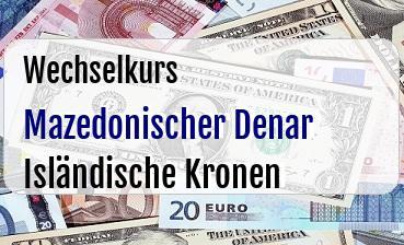 Mazedonischer Denar in Isländische Kronen