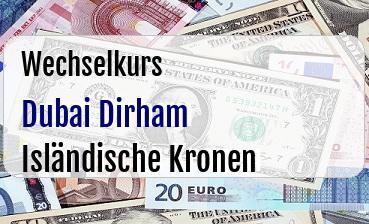 Dubai Dirham in Isländische Kronen