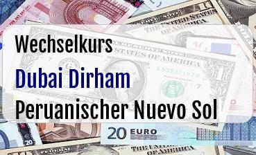 Dubai Dirham in Peruanischer Nuevo Sol