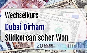 Dubai Dirham in Südkoreanischer Won