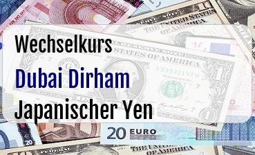 Dubai Dirham in Japanischer Yen