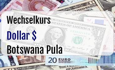 US Dollar in Botswana Pula