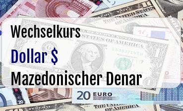 US Dollar in Mazedonischer Denar