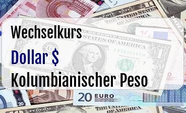 US Dollar in Kolumbianischer Peso