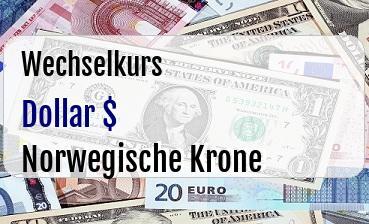 US Dollar in Norwegische Krone