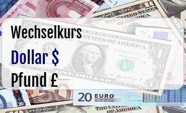 US Dollar in Britische Pfund