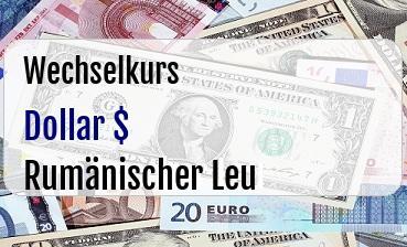 US Dollar in Rumänischer Leu