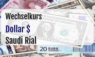 US Dollar in Saudi Rial