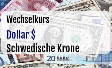 US Dollar in Schwedische Krone