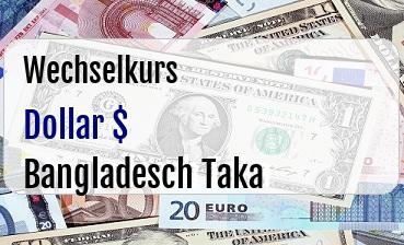 US Dollar in Bangladesch Taka