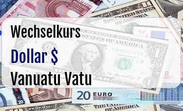 US Dollar in Vanuatu Vatu