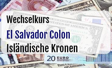 El Salvador Colon in Isländische Kronen