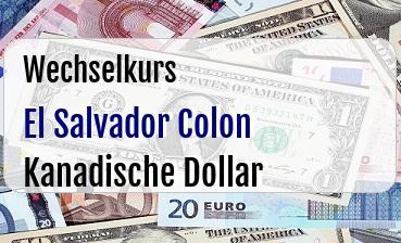 El Salvador Colon in Kanadische Dollar