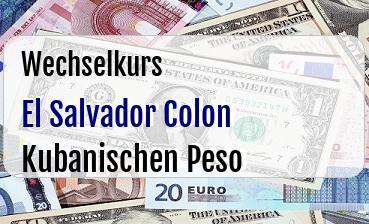 El Salvador Colon in Kubanischen Peso
