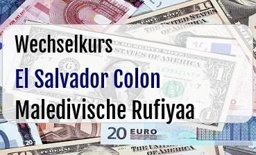 El Salvador Colon in Maledivische Rufiyaa