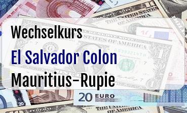El Salvador Colon in Mauritius-Rupie