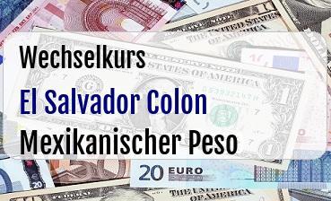 El Salvador Colon in Mexikanischer Peso