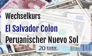 El Salvador Colon in Peruanischer Nuevo Sol