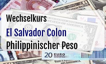 El Salvador Colon in Philippinischer Peso