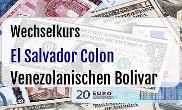 El Salvador Colon in Venezolanischen Bolivar
