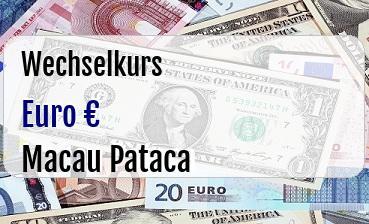 Euro in Macau Pataca