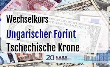 Ungarischer Forint in Tschechische Krone