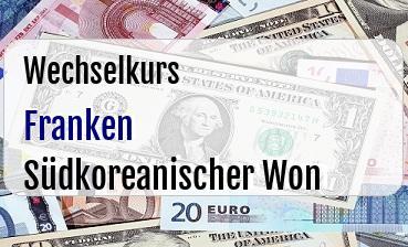 Schweizer Franken in Südkoreanischer Won