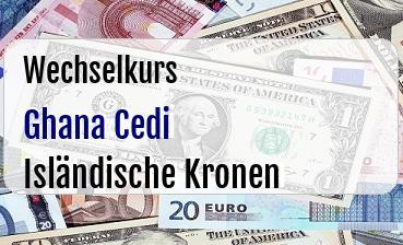 Ghana Cedi in Isländische Kronen