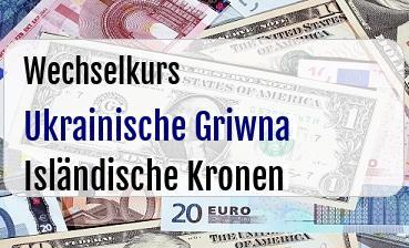 Ukrainische Griwna in Isländische Kronen