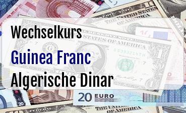 Guinea Franc in Algerische Dinar