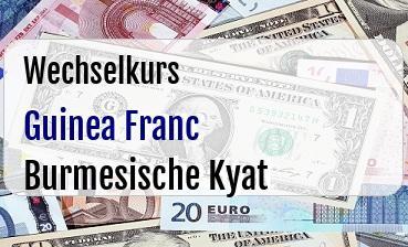 Guinea Franc in Burmesische Kyat