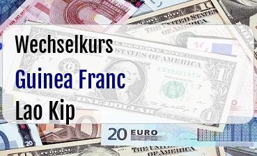 Guinea Franc in Lao Kip