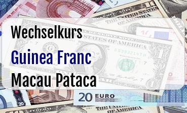 Guinea Franc in Macau Pataca