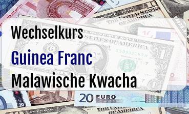 Guinea Franc in Malawische Kwacha