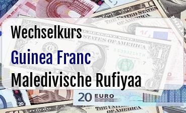 Guinea Franc in Maledivische Rufiyaa