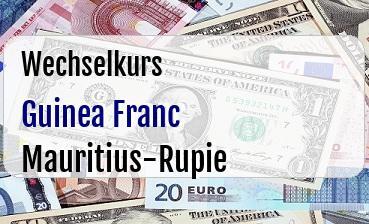 Guinea Franc in Mauritius-Rupie