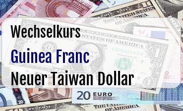 Guinea Franc in Neuer Taiwan Dollar
