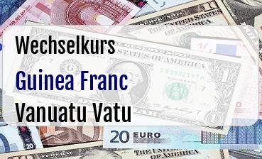 Guinea Franc in Vanuatu Vatu