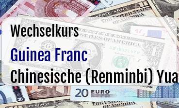 Guinea Franc in Chinesische (Renminbi) Yuan