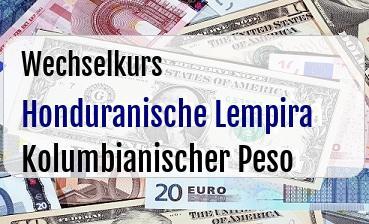 Honduranische Lempira in Kolumbianischer Peso