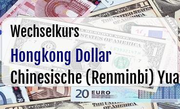 Hongkong Dollar in Chinesische (Renminbi) Yuan