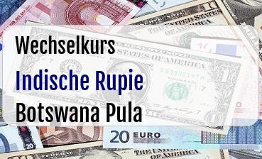 Indische Rupie in Botswana Pula
