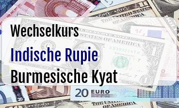 Indische Rupie in Burmesische Kyat