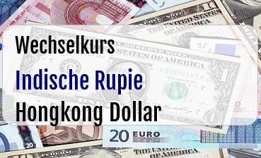Indische Rupie in Hongkong Dollar