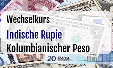 Indische Rupie in Kolumbianischer Peso